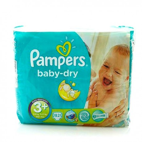 Baby Dry - 82 Couches Pampers taille 3+ sur Couches Poupon
