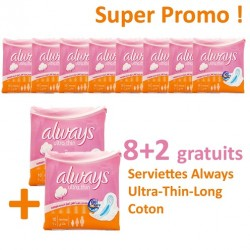 Ultra Thin - 80 Serviettes hygiéniques d'Always - 10 Packs de 8 Serviettes hygiéniques taille Long sur Couches Poupon