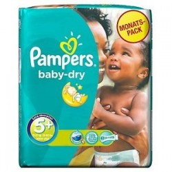 Baby Dry - 43 Couches Pampers taille 5+ sur Couches Poupon