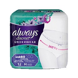 Pack 12 culottes incontinence ALWAYS DISCREET Normal sur Couches Poupon