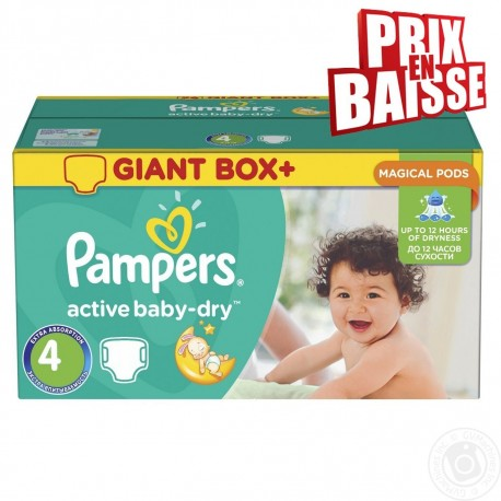 308 Couches Pampers Active Baby Dry Taille 4 A Petit Prix Sur