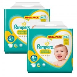 Pampers - Mega Pack 256 Couches Premium Protection - New Baby taille 5+ sur Couches Poupon