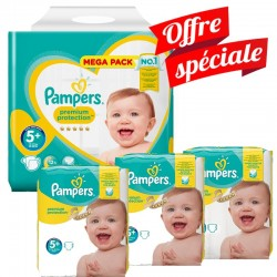 Pampers - Maxi Giga Pack 416 Couches Premium Protection - New Baby taille 5+ sur Couches Poupon