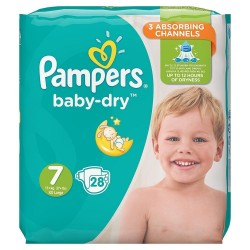Pampers - Pack 28 Couches Baby Dry taille 7 sur Couches Poupon