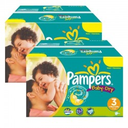 Pampers - Giga Pack Jumeaux 408 Couches Baby Dry taille 3 sur Couches Poupon