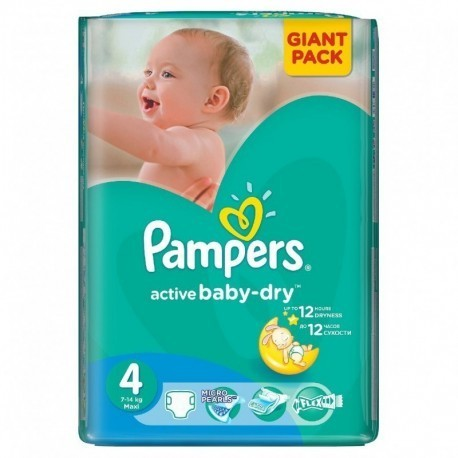 Pampers - Pack 90 Couches Active Baby Dry taille 4 sur Couches Poupon
