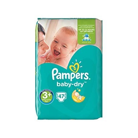 Pampers - Pack 47 Couches Baby Dry taille 3+ sur Couches Poupon