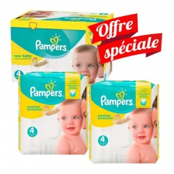 Pampers - Mega Pack 312 Couches New Baby - Premium Protection taille 4 sur Couches Poupon