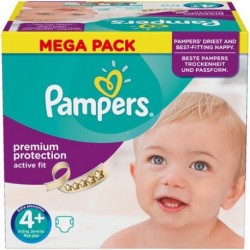 Pampers - Pack 62 Couches Active Fit taille 4+ sur Couches Poupon