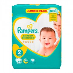 Pampers - Pack 68 Couches New Baby - Premium Protection taille 2 sur Couches Poupon