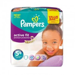 Pampers - Pack 32 Couches Active Fit - Premiun Protection taille 5+ sur Couches Poupon