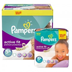 Pampers - Giga Pack 288 Couches Active Fit - Premium Protection taille 5+ sur Couches Poupon