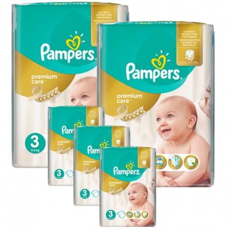 Pampers - Maxi Pack 340 Couches Premium Care - Prima taille 3 sur Couches Poupon