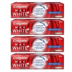 Lot de 4 Dentifrices Colgate 75 ml Max White Expert Complete Mild Mint sur Couches Poupon