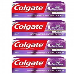 Colgate - Lot 4 Dentifrices Blancheur Defi Zero Carie sur Couches Poupon