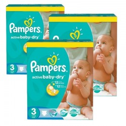 Pampers - Maxi Pack 216 Couches Active Baby Dry taille 3
