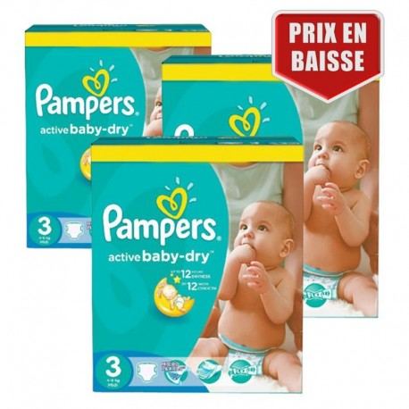 Pampers - Giga Pack 432 Couches Active Baby Dry taille 3 sur Couches Poupon