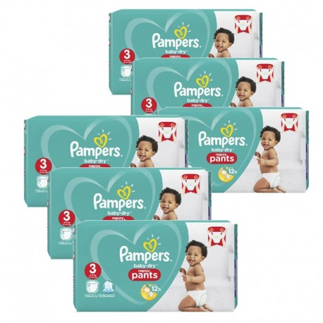 Pampers - Mega Pack 260 Couches Baby Dry Pants taille 3 sur Couches Poupon