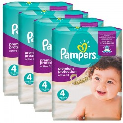 Pampers - Mega Pack 336 Couches Active Fit - Premium Protection taille 4