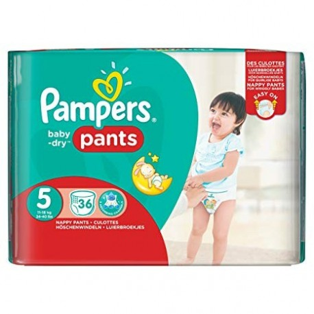 Pampers - Pack 36 Couches Baby Dry Pants taille 5 sur Couches Poupon