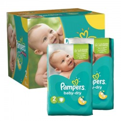 Maxi Giga Pack 210 couches Pampers Baby Dry sur Couches Poupon