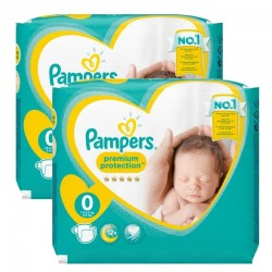Pampers - Pack 48 Couches new baby - premium protection taille 0 sur Couches Poupon