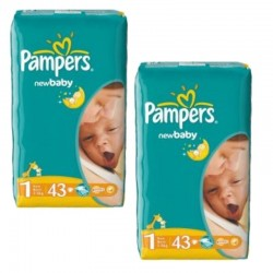 Pack 86 couches Pampers New Baby Dry sur Couches Poupon