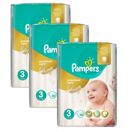 Pampers - Mega Pack 60 Couches Premium Care - Prima taille 3 sur Couches Poupon