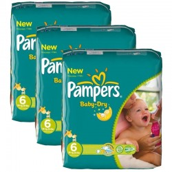 Pack 132 couches Pampers Baby Dry sur Couches Poupon