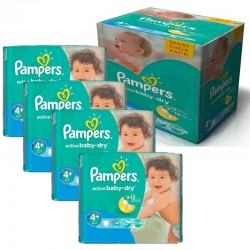 Pampers - Maxi Pack 350 Couches Active Baby Dry taille 4+ sur Couches Poupon