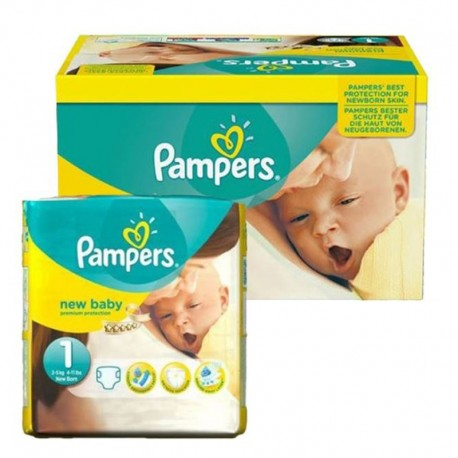 Pack 96 couches Pampers New Baby Premium Protection sur Couches Poupon