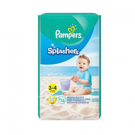 Pampers - Pack 12 Couches de bains Splashers taille 3 sur Couches Poupon