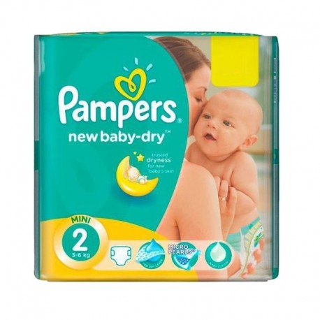 Pampers - Pack 43 Couches New Baby Dry sur Couches Poupon