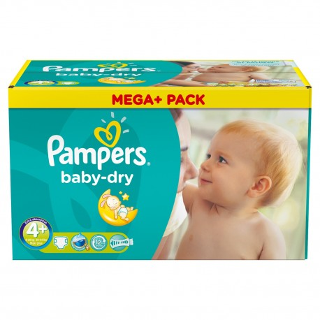 Pampers - Mega pack 164 Couches Baby Dry taille 4+ sur Couches Poupon
