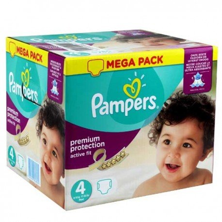 Pampers - Maxi mega pack 492 Couches Active Fit Premium Protection taille 4 sur Couches Poupon