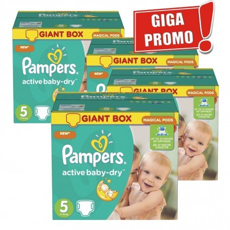 Pampers - Mega pack 174 Couches Active Baby Dry sur Couches Poupon