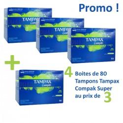 Compak - 320 Tampons Tampax - 4 au prix de 3 taille super avec applicateur sur Couches Poupon